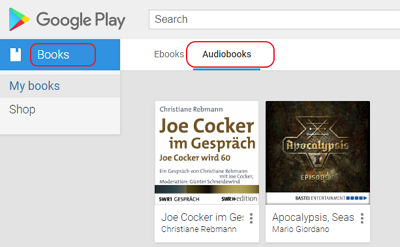 google play audiobooks library