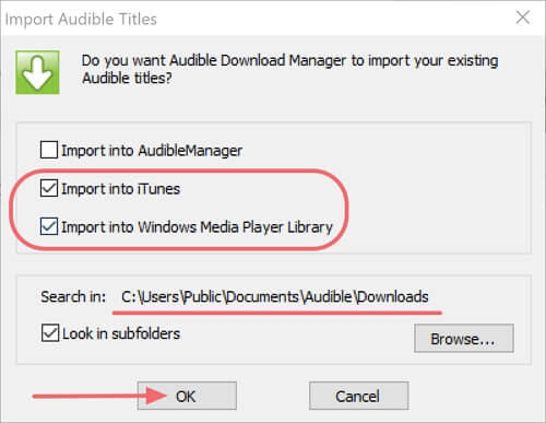 import audible to iTunes or windows media player