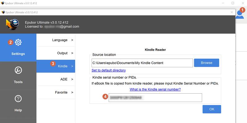 input kindle serial number