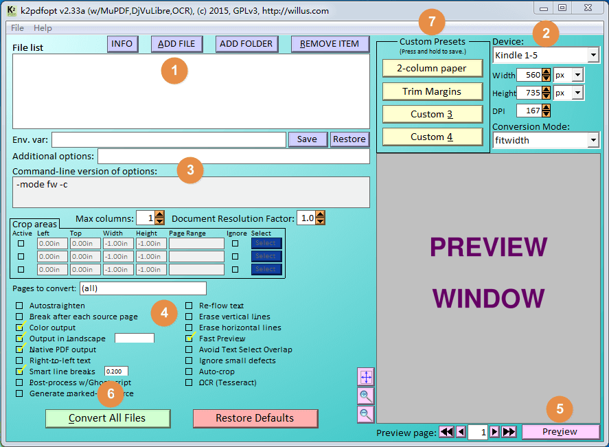 K2pdfopt User Interface