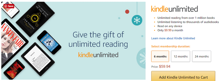 kindle unlimited as gift