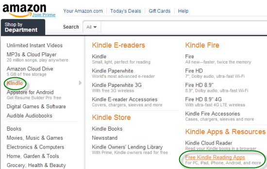 select Kindle app