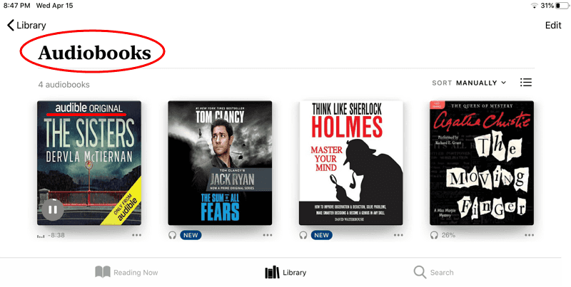 listen to Audible in Apple Books