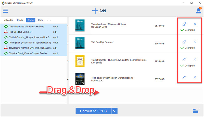 make epub readable with drm removing