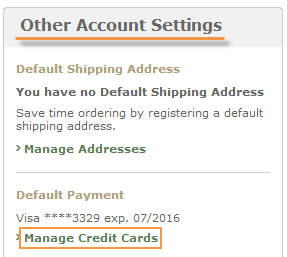 Nook account - manage credit cards