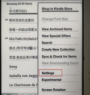 kindle settings