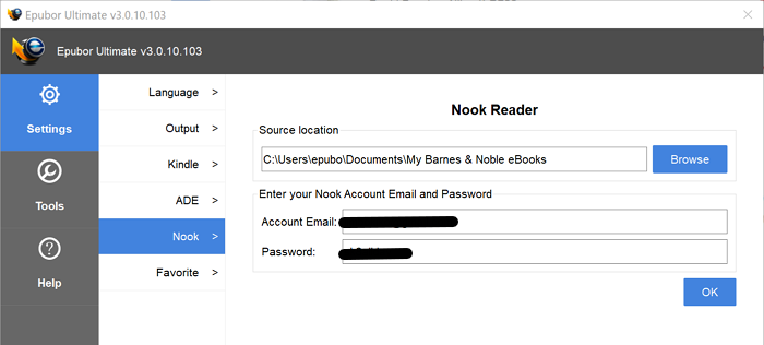fill in nook account information