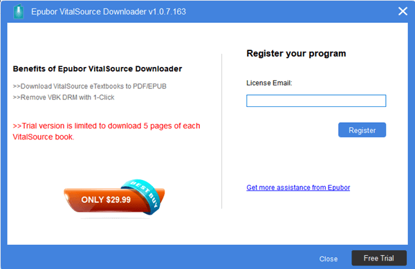 register vitalsource downloader