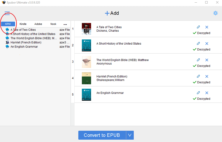 convert kindle books to epub