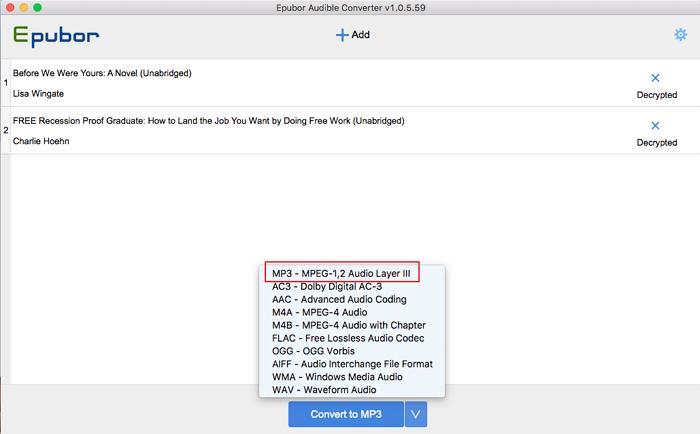 seleccione mp3 como formato de salida