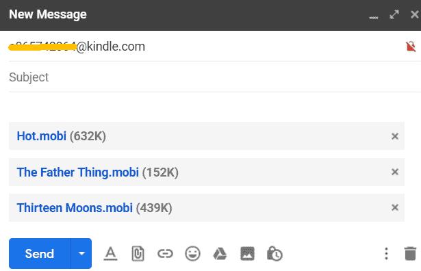 send mobi to kindle via email