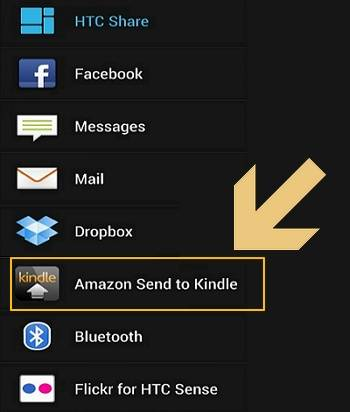 send pdf to Kindle from Android