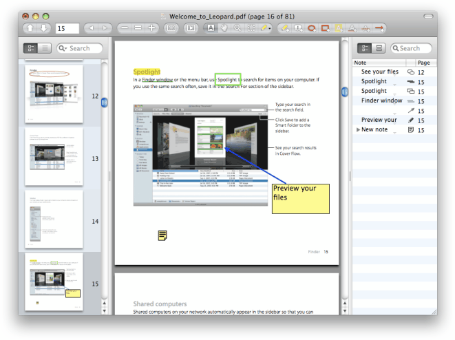 Skim pdf editor's features