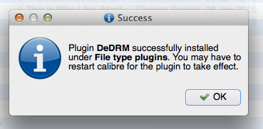 plugin dedrm successfully installed
