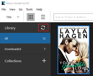 sync icon in kindle for pc