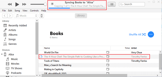 syncing books to iPhone