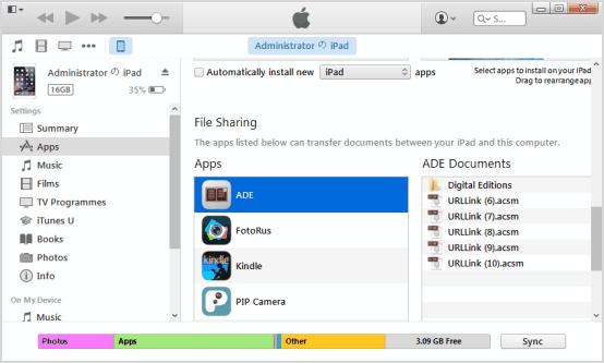 transfer acsm books to iPad