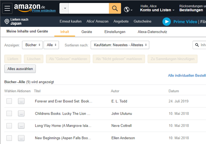 transferred kindle books on another amazon site